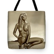 Nude Blond Beauty Sepia Tote Bag
