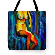 Nude Female Figure Portrait Artwork Painting In Blue Vibrant Rainbow Colors And Styles Warm Style Undersea Adventure In Blue Mythology Siren Women And Not Sensual Tote Bag