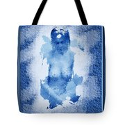 Nude In Blue Tote Bag