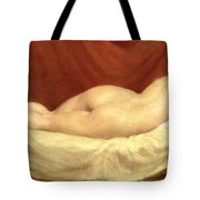 Nude Lying On A Sofa Against A Red Curtain Tote Bag