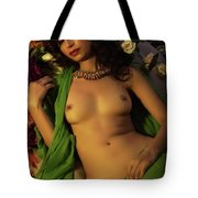 Nude On Flower Bed 1 Tote Bag