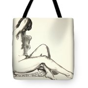 Nude Study, Girl Sitting On A Flowered Cushion Tote Bag