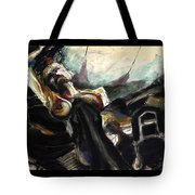 Nude With Chaps On Harley Tote Bag