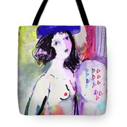 Nude With Flower Hat Tote Bag