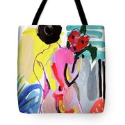 Nude With Flowers Tote Bag