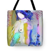 Nude With Yellow Stripe Tote Bag