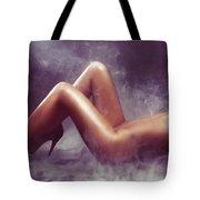 Nude Woman Body In Clouds Of Smoke Tote Bag
