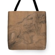 Nude Youth Leaning On A Cloud And Gazing Upward Tote Bag