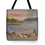 Ny Skyline And Gwb From Hastings On Hudson Tote Bag