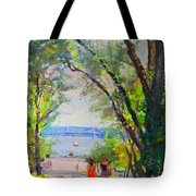 Nyack Park A Beautiful Day For A Walk Tote Bag by Ylli Haruni