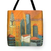 Nyc In Orange Tote Bag