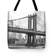 Nyc Manhattan Bridge In Black And White Tote Bag