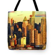 Nyc West Side In Gold And Blue  Tote Bag