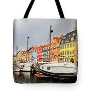 Nyhavn Harbour In Copenhagen Tote Bag