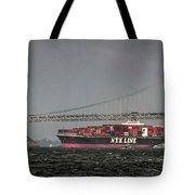 Nyl Line Container Ship By Bay Bridge In San Francisco, California Tote Bag