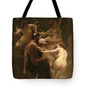 Nymphs And Satyr Tote Bag by William Adolphe Bouguereau