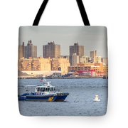 Nypd Patrol Boat In East River Tote Bag