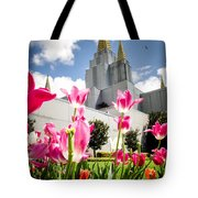 Oakland Pink Tulips Tote Bag by La Rae  Roberts