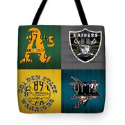Oakland Sports Fan Recycled Vintage California License Plate Art Athletics Raiders Warriors Sharks Tote Bag