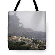 Ocean Avenue House In Fog Tote Bag