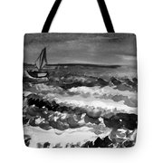 Ocean Back And White Tote Bag