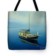 Coastal Wall Art, Ocean Blue, Fishing Boat Paintings Tote Bag