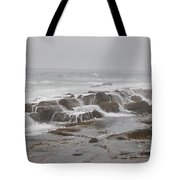 Ocean Waves Over Rocks Tote Bag