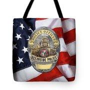 Oceanside Police Department - Opd Officer Badge Over American Flag Tote Bag