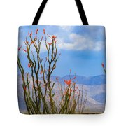 Ocotillo Cactus With Mountains And Sky Tote Bag