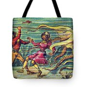 Octopus Attack, 1900s French Postcard Tote Bag