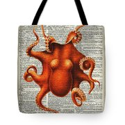 Octopus Vintage Illustration On A Book Page Tote Bag by Anna W