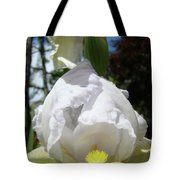 Office Art Prints Iris Flowers White Yellow Irises Baslee Troutman Tote Bag