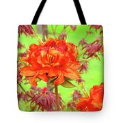 Office Art Prints Orange Azalea Flowers Landscape 13 Giclee Prints Baslee Troutman Tote Bag