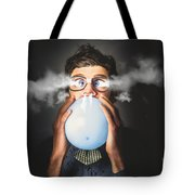 Office Party Nerd Blowing Up Birthday Balloon Tote Bag