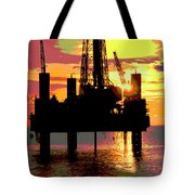 Offshore Drilling Rig Sunset Tote Bag