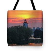 Ogdensburg Lighthouse At Sunset 6695 Tote Bag