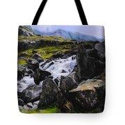 Ogwen Rock Waterfall Tote Bag