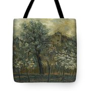Oil Painting House Tree Tote Bag