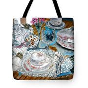 Oil Painting Still Life China Tea Set Tote Bag