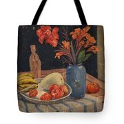 Oil Painting Still Life Vase Fruits Tote Bag