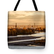 Oil Refinery At Sunset Tote Bag