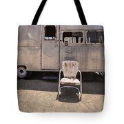 Old 1930 Silver Camping Trailer Tote Bag by Edward Fielding