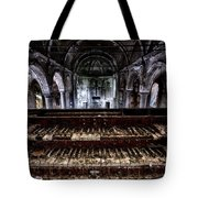 Old Abandoned Church Organ In Decay Tote Bag