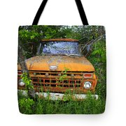 Old Abandoned Ford Truck In The Forest Tote Bag