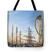 Old And New At Gunwharf Quays Tote Bag