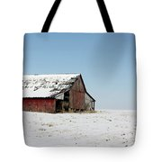 Old Barn And Snowy Prairie Tote Bag