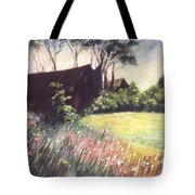 Old Barn And Wildflowers Tote Bag