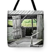 Old Barn At The Farm On Sunny Day Tote Bag