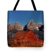 Old Barn Grand Tetons National Park Wyoming Tote Bag by Dave Welling