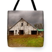 Old Barn In The Storm Tote Bag